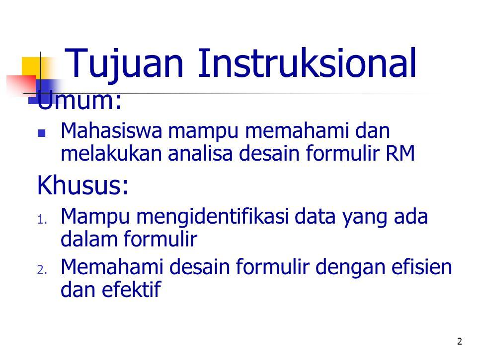 2 Tujuan Instruksional Umum: Mahasiswa mampu memahami dan melakukan analisa desain formulir RM Khusus: 1. Mampu mengidentifikasi data yang ada dalam f
