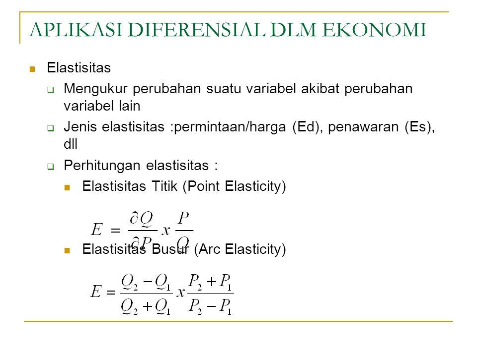 APLIKASI DIFERENSIAL DLM EKONOMI Elastisitas  Mengukur perubahan suatu variabel akibat perubahan variabel lain  Jenis elastisitas :permintaan/harga (Ed), penawaran (Es), dll  Perhitungan elastisitas : Elastisitas Titik (Point Elasticity) Elastisitas Busur (Arc Elasticity)