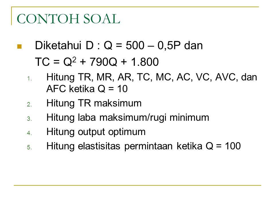 CONTOH SOAL Diketahui D : Q = 500 – 0,5P dan TC = Q 2 + 790Q + 1.800 1.