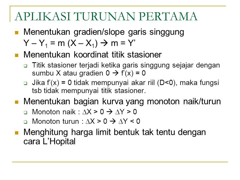 APLIKASI TURUNAN PERTAMA Menentukan gradien/slope garis singgung Y – Y 1 = m (X – X 1 )  m = Y' Menentukan koordinat titik stasioner  Titik stasioner terjadi ketika garis singgung sejajar dengan sumbu X atau gradien 0  f'(x) = 0  Jika f'(x) = 0 tidak mempunyai akar riil (D<0), maka fungsi tsb tidak mempunyai titik stasioner.