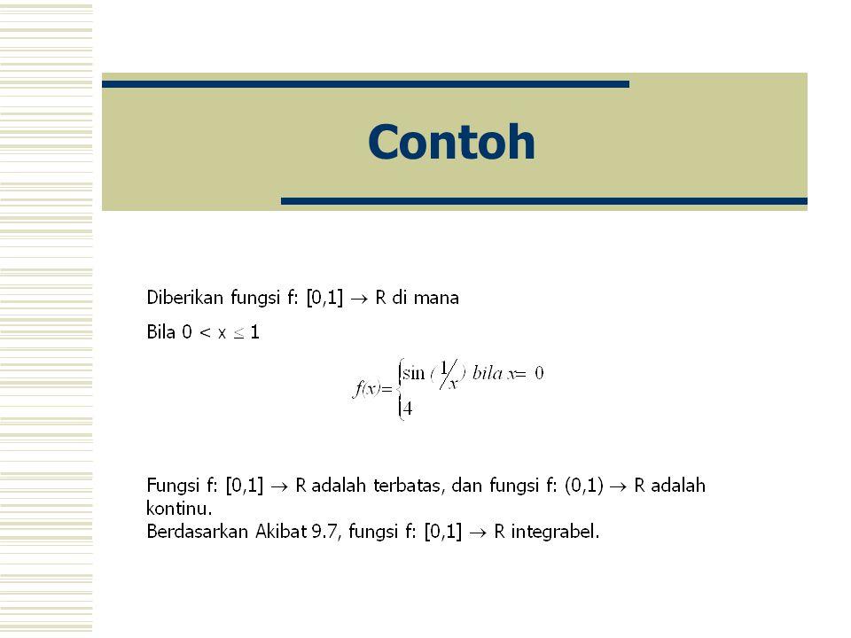 Akibat Misalkan fungsi f: [a,b]  R terbatas dan fungsi f: (a,b)  R kontinu. Maka fungsi f: [a,b]  R integrabel.