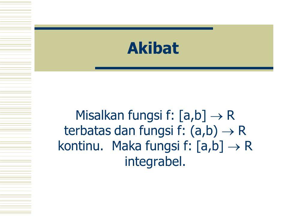 Teorema Misalkan fungsi f: [a,b]  R kontinu. Maka fungsi f adalah integrabel.