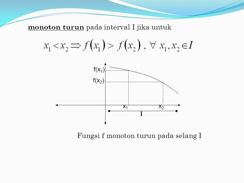 Fungsi f monoton turun pada selang I f(x 1 ) f(x 2 ) monoton turun pada interval I jika untuk I x1x1 x2x2
