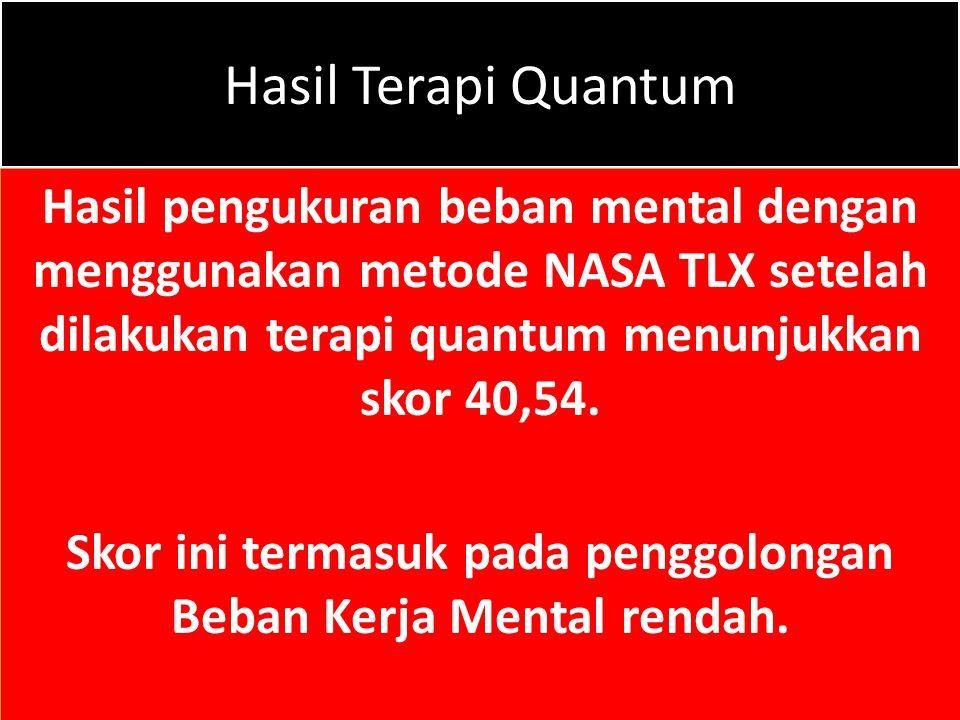Hasil Terapi Quantum Hasil pengukuran beban mental dengan menggunakan metode NASA TLX setelah dilakukan terapi quantum menunjukkan skor 40,54. Skor in