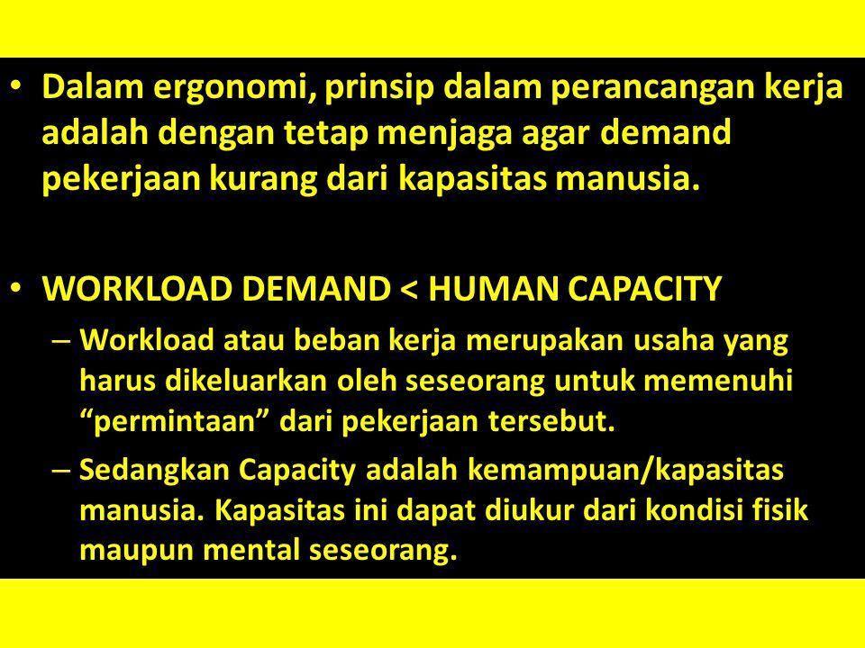 Dalam ergonomi, prinsip dalam perancangan kerja adalah dengan tetap menjaga agar demand pekerjaan kurang dari kapasitas manusia. WORKLOAD DEMAND < HUM