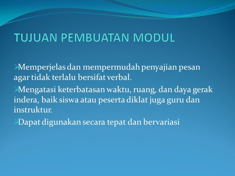 Pada umumnya modul dibuat oleh guru baik secara individual maupun bersama dengan guru lainnya yang akhirnya tergabung menjadi sebuah tim dalam menyusun modul.