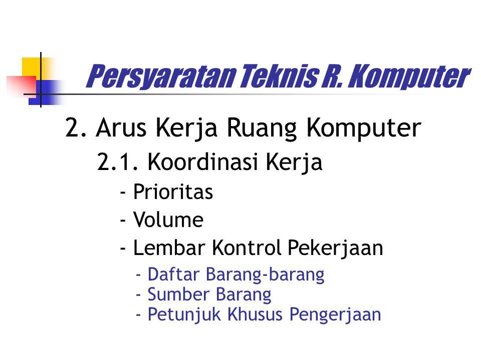 2. Arus Kerja Ruang Komputer Persyaratan Teknis R. Komputer - Prioritas - Volume - Lembar Kontrol Pekerjaan - Daftar Barang-barang - Sumber Barang - P