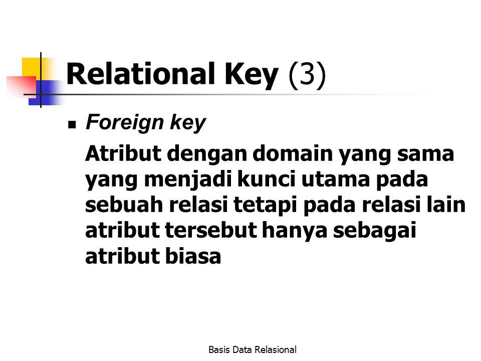 Basis Data Relasional Relational Key (3) Foreign key Atribut dengan domain yang sama yang menjadi kunci utama pada sebuah relasi tetapi pada relasi la