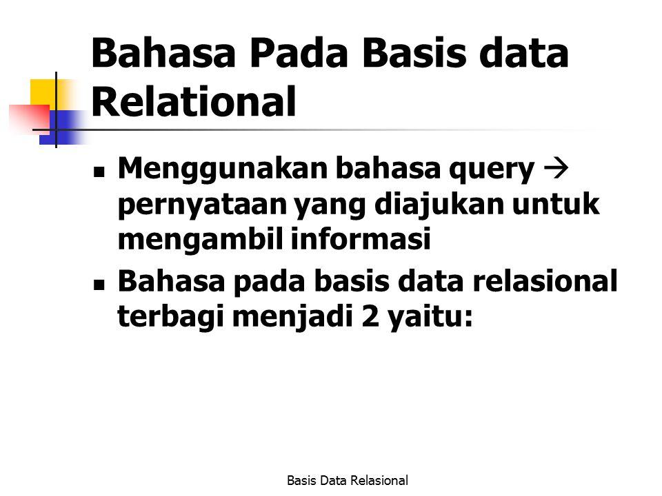 Basis Data Relasional Bahasa Pada Basis data Relational Menggunakan bahasa query  pernyataan yang diajukan untuk mengambil informasi Bahasa pada basi