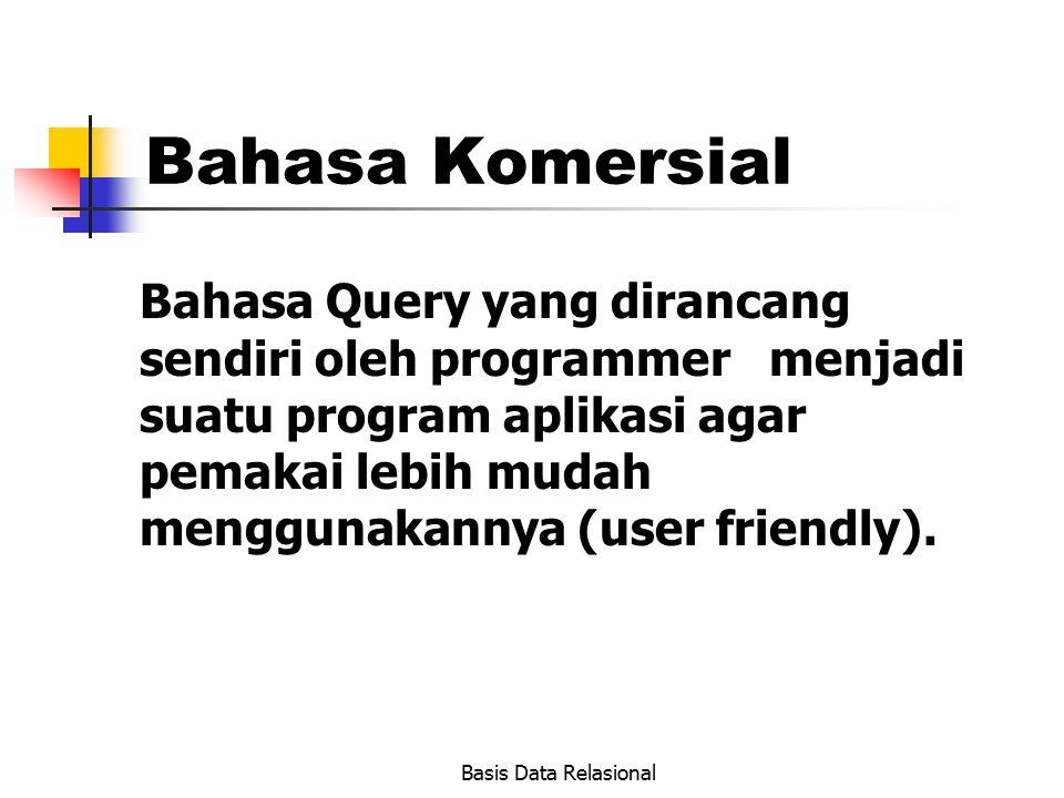 Basis Data Relasional Bahasa Komersial Bahasa Query yang dirancang sendiri oleh programmer menjadi suatu program aplikasi agar pemakai lebih mudah men