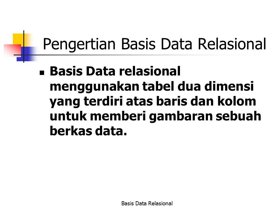 Basis Data Relasional Pengertian Basis Data Relasional Basis Data relasional menggunakan tabel dua dimensi yang terdiri atas baris dan kolom untuk mem