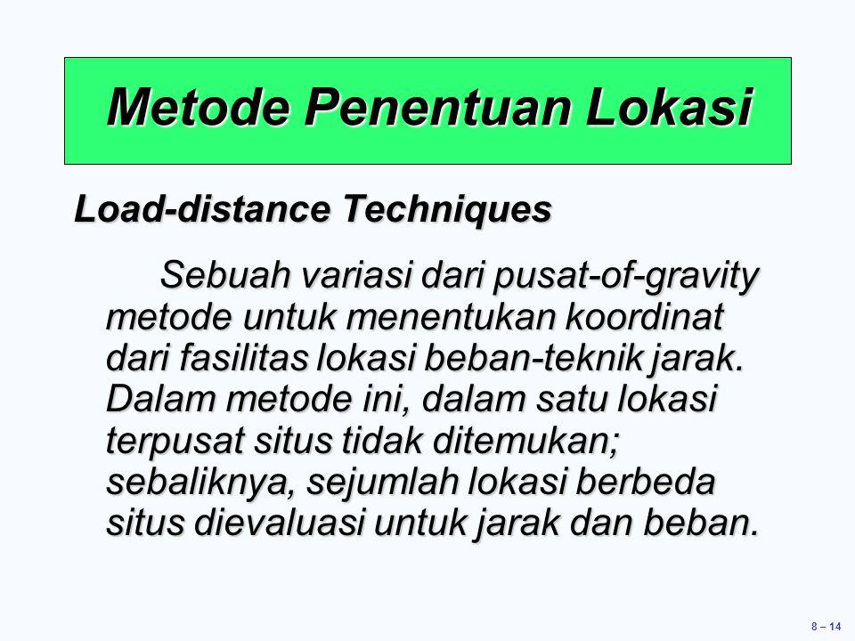 8 – 14 Load-distance Techniques Sebuah variasi dari pusat-of-gravity metode untuk menentukan koordinat dari fasilitas lokasi beban-teknik jarak.