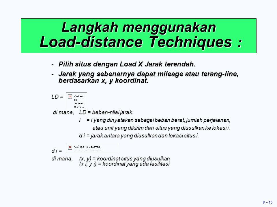 8 – 15 -Pilih situs dengan Load X Jarak terendah. -Jarak yang sebenarnya dapat mileage atau terang-line, berdasarkan x, y koordinat. LD = di mana, LD