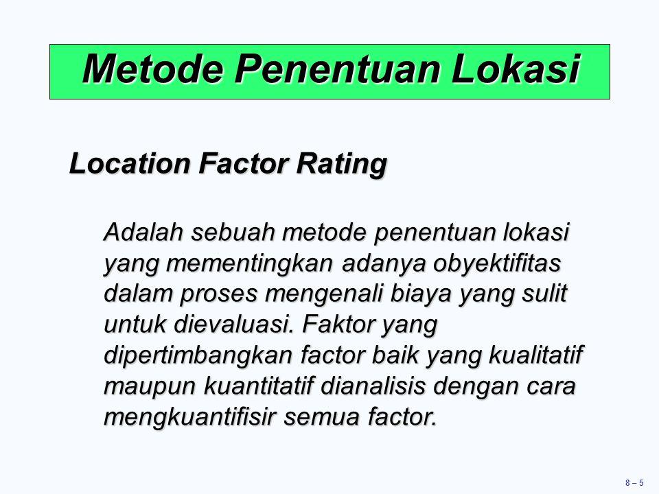 8 – 5 Metode Penentuan Lokasi Location Factor Rating Adalah sebuah metode penentuan lokasi yang mementingkan adanya obyektifitas dalam proses mengenali biaya yang sulit untuk dievaluasi.