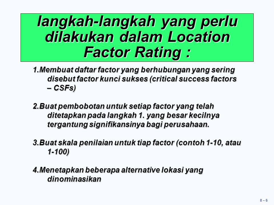 8 – 6 langkah-langkah yang perlu dilakukan dalam Location Factor Rating : 1.Membuat daftar factor yang berhubungan yang sering disebut factor kunci sukses (critical success factors – CSFs) 2.Buat pembobotan untuk setiap factor yang telah ditetapkan pada langkah 1.