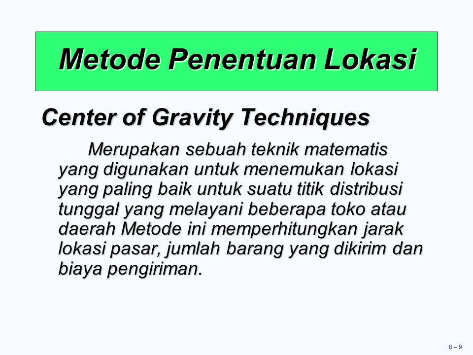 8 – 9 Center of Gravity Techniques Merupakan sebuah teknik matematis yang digunakan untuk menemukan lokasi yang paling baik untuk suatu titik distribu