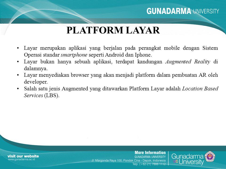 PLATFORM LAYAR Layar merupakan aplikasi yang berjalan pada perangkat mobile dengan Sistem Operasi standar smartphone seperti Android dan Iphone. Layar