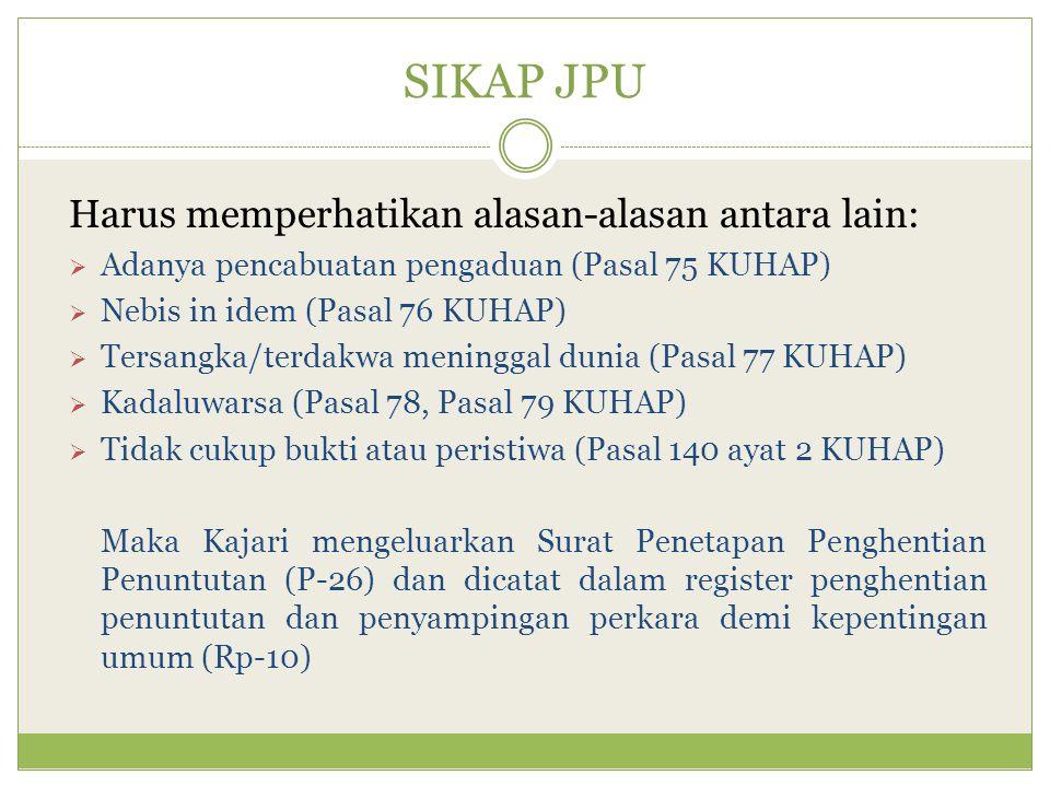 SIKAP JPU Harus memperhatikan alasan-alasan antara lain:  Adanya pencabuatan pengaduan (Pasal 75 KUHAP)  Nebis in idem (Pasal 76 KUHAP)  Tersangka/