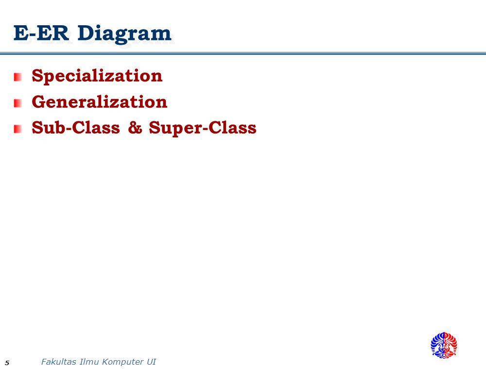 Fakultas Ilmu Komputer UI 5 E-ER Diagram Specialization Generalization Sub-Class & Super-Class