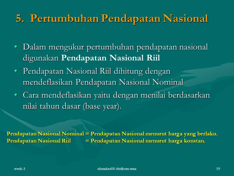 week-3ekmakro08-ittelkom-mna19 5. Pertumbuhan Pendapatan Nasional Dalam mengukur pertumbuhan pendapatan nasional digunakanDalam mengukur pertumbuhan p