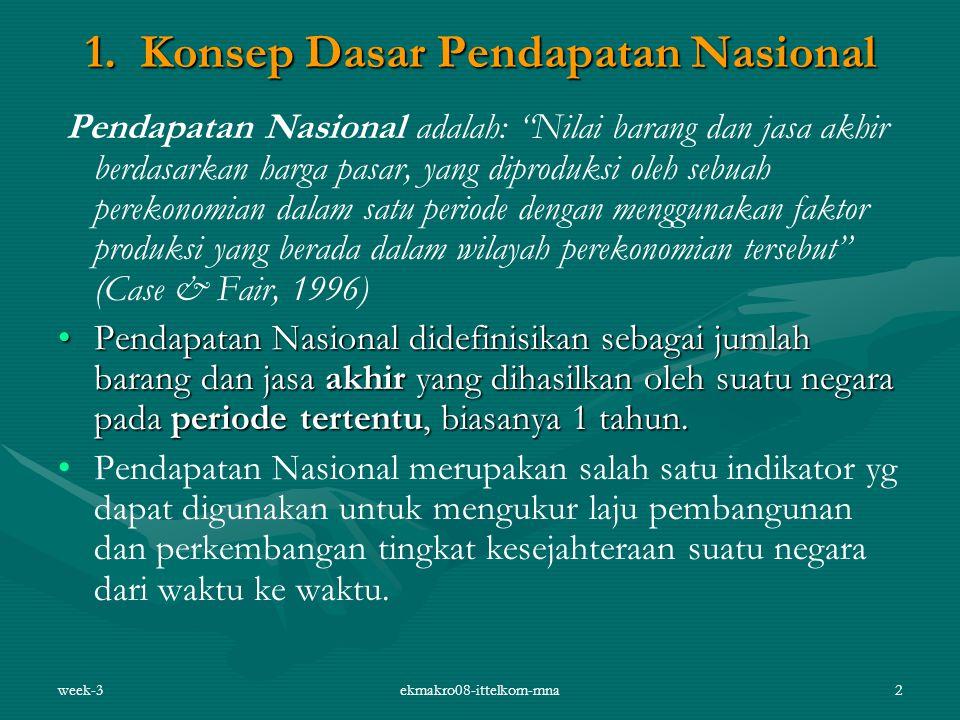"""week-3ekmakro08-ittelkom-mna2 1. Konsep Dasar Pendapatan Nasional Pendapatan Nasional adalah: """"Nilai barang dan jasa akhir berdasarkan harga pasar, ya"""