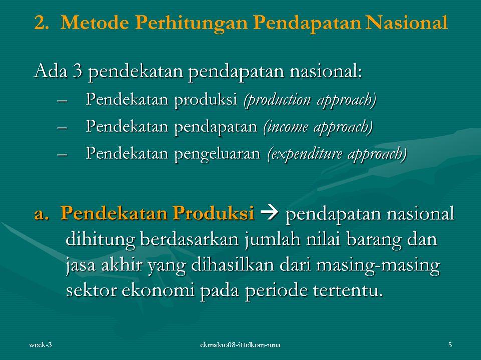 week-3ekmakro08-ittelkom-mna5 2. Metode Perhitungan Pendapatan Nasional Ada 3 pendekatan pendapatan nasional: –Pendekatan produksi (production approac