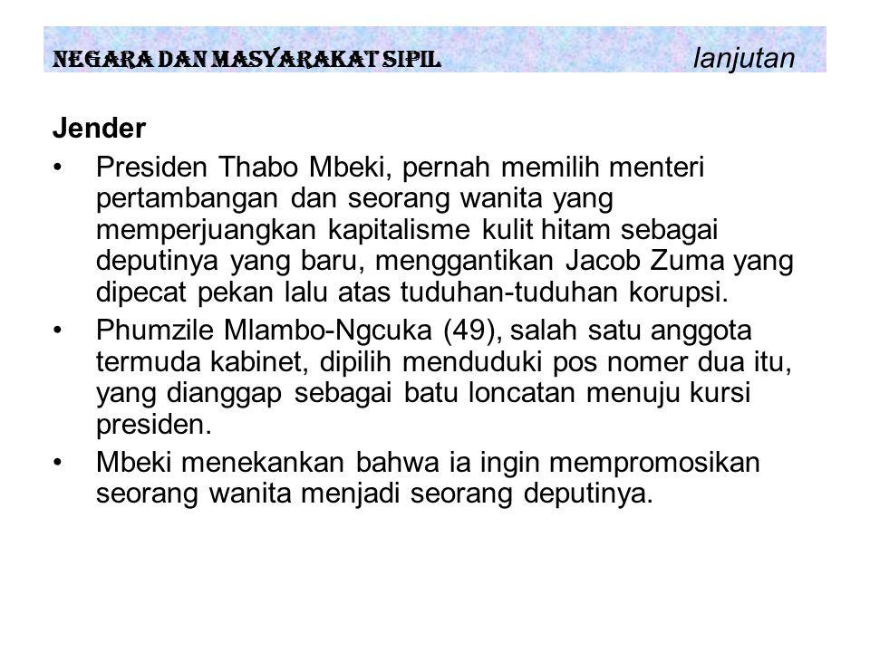 Jender Presiden Thabo Mbeki, pernah memilih menteri pertambangan dan seorang wanita yang memperjuangkan kapitalisme kulit hitam sebagai deputinya yang baru, menggantikan Jacob Zuma yang dipecat pekan lalu atas tuduhan-tuduhan korupsi.