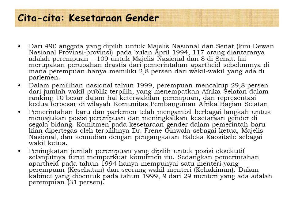 Cita-cita: Kesetaraan Gender Dari 490 anggota yang dipilih untuk Majelis Nasional dan Senat (kini Dewan Nasional Provinsi-provinsi) pada bulan April 1994, 117 orang diantaranya adalah perempuan – 109 untuk Majelis Nasional dan 8 di Senat.