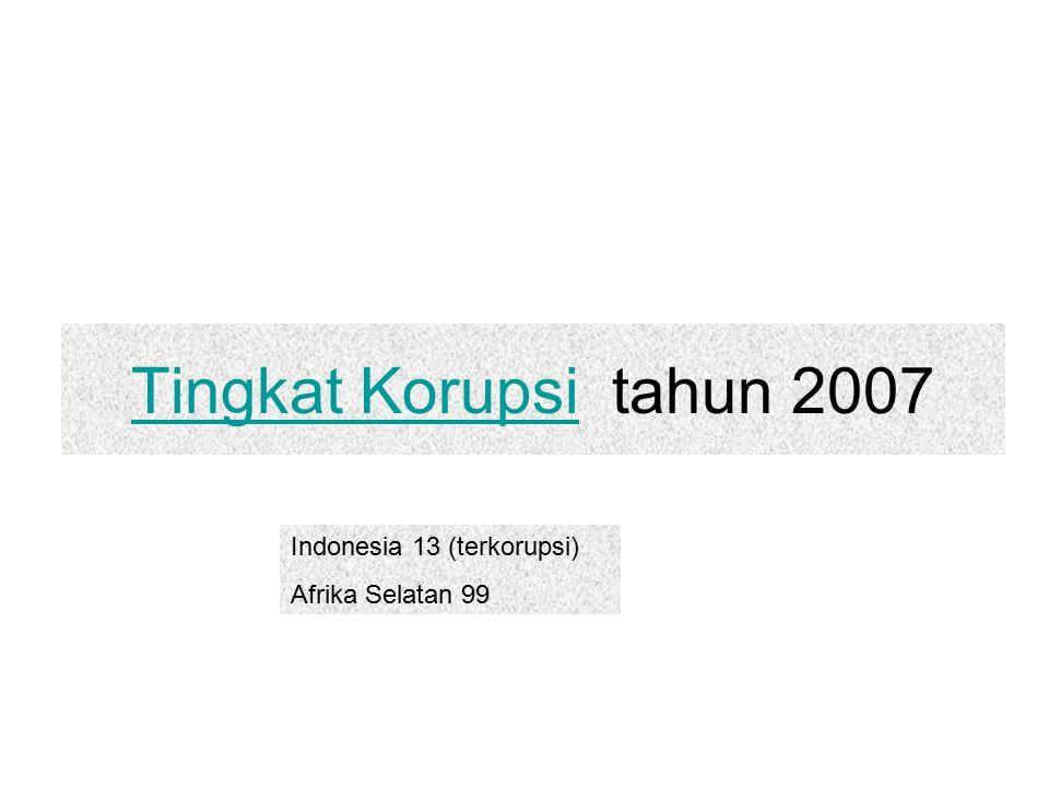 Tingkat KorupsiTingkat Korupsi tahun 2007 Indonesia 13 (terkorupsi) Afrika Selatan 99