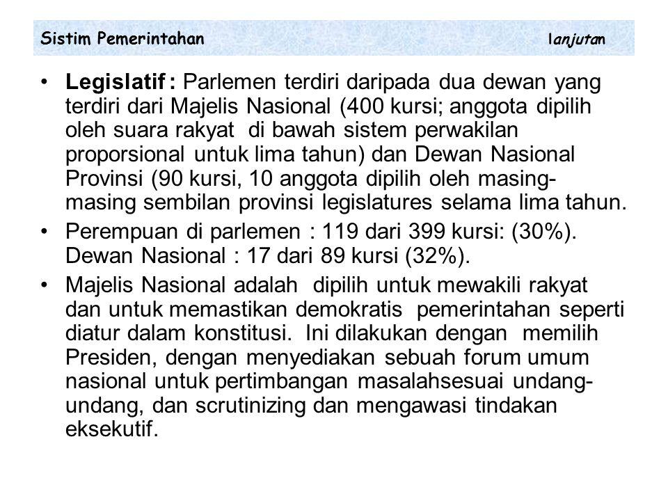 Legislatif : Parlemen terdiri daripada dua dewan yang terdiri dari Majelis Nasional (400 kursi; anggota dipilih oleh suara rakyat di bawah sistem perwakilan proporsional untuk lima tahun) dan Dewan Nasional Provinsi (90 kursi, 10 anggota dipilih oleh masing- masing sembilan provinsi legislatures selama lima tahun.