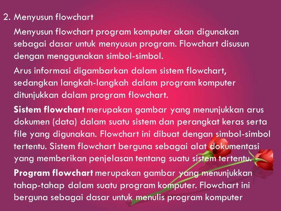 2.Menyusun flowchart Menyusun flowchart program komputer akan digunakan sebagai dasar untuk menyusun program.