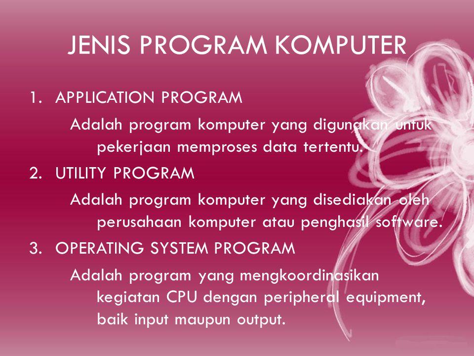 JENIS PROGRAM KOMPUTER 1.APPLICATION PROGRAM Adalah program komputer yang digunakan untuk pekerjaan memproses data tertentu.