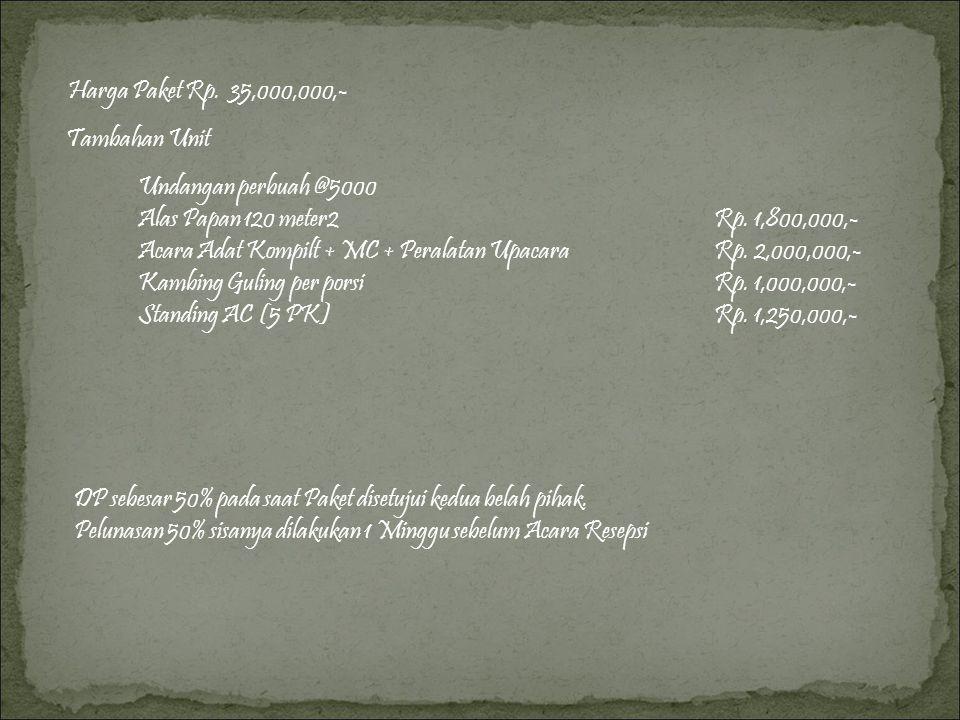 Harga Paket Rp.35,000,000,- Tambahan Unit Undangan perbuah @5000 Alas Papan 120 meter2Rp.