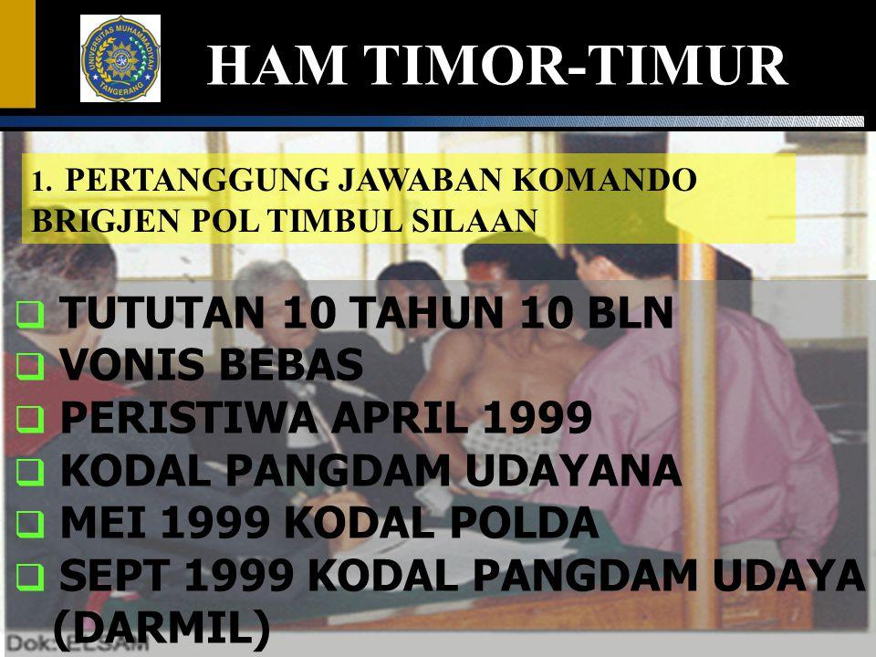 1. PERTANGGUNG JAWABAN KOMANDO BRIGJEN POL TIMBUL SILAAN HAM TIMOR-TIMUR  TUTUTAN 10 TAHUN 10 BLN  VONIS BEBAS  PERISTIWA APRIL 1999  KODAL PANGDA