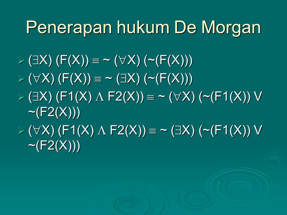 Penerapan hukum De Morgan  (  X) (F(X))  ~ (  X) (~(F(X)))  (  X) (F(X))  ~ (  X) (~(F(X)))  (  X) (F1(X)  F2(X))  ~ (  X) (~(F1(X)) V ~(F2(X)))  (  X) (F1(X)  F2(X))  ~ (  X) (~(F1(X)) V ~(F2(X)))