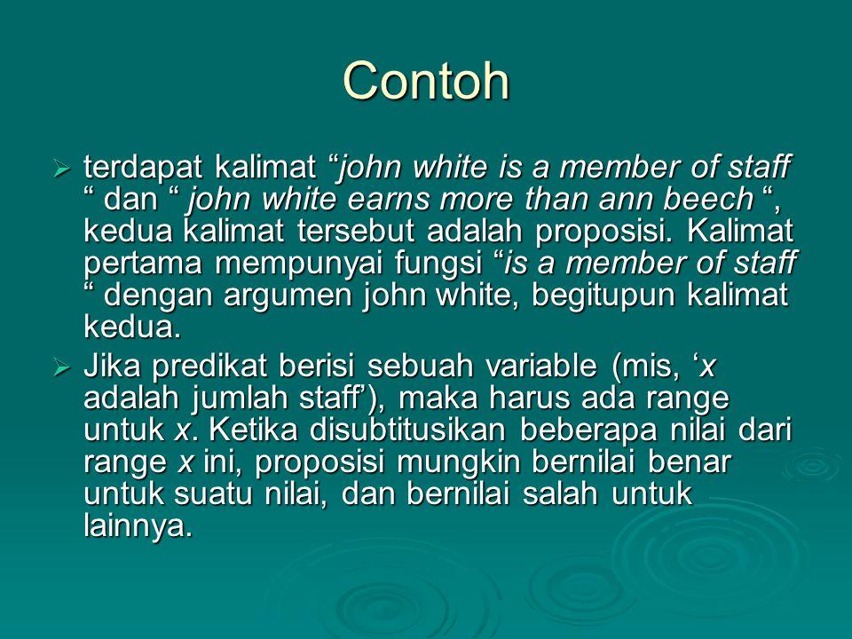 "Contoh  terdapat kalimat ""john white is a member of staff "" dan "" john white earns more than ann beech "", kedua kalimat tersebut adalah proposisi. Ka"