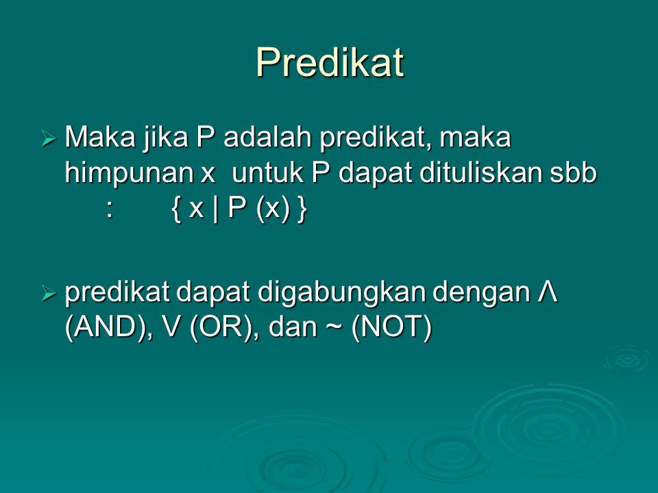 Predikat  Maka jika P adalah predikat, maka himpunan x untuk P dapat dituliskan sbb :{ x | P (x) }  predikat dapat digabungkan dengan Λ (AND), V (OR), dan ~ (NOT)