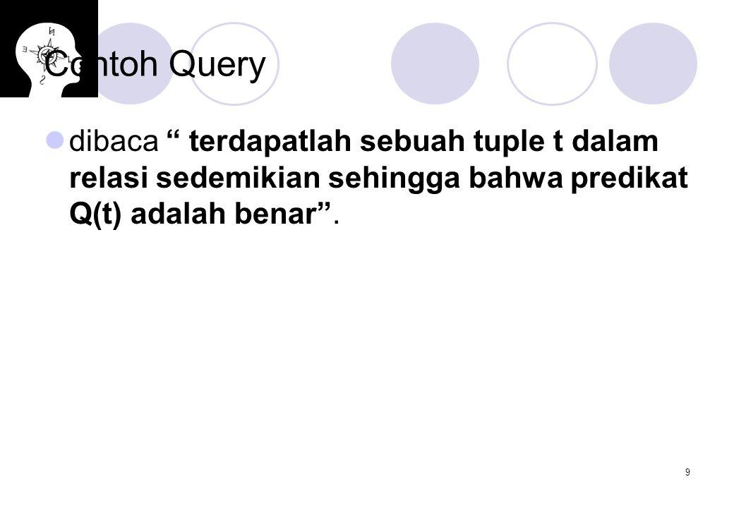 10 Contoh Query Dengan menggunakan notasi ini maka dapat ditulis query Tampilkan loan number untuk setiap pinjaman yang lebih dari $1200 sebagai