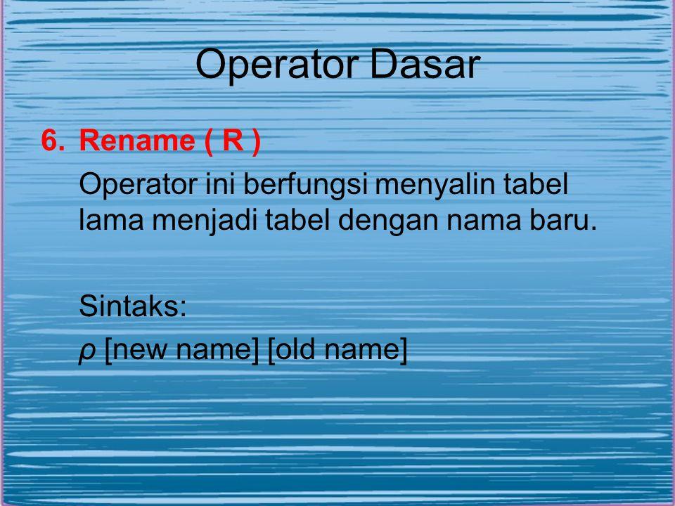 Operator Dasar 6.Rename ( R ) Operator ini berfungsi menyalin tabel lama menjadi tabel dengan nama baru. Sintaks: ρ [new name] [old name]