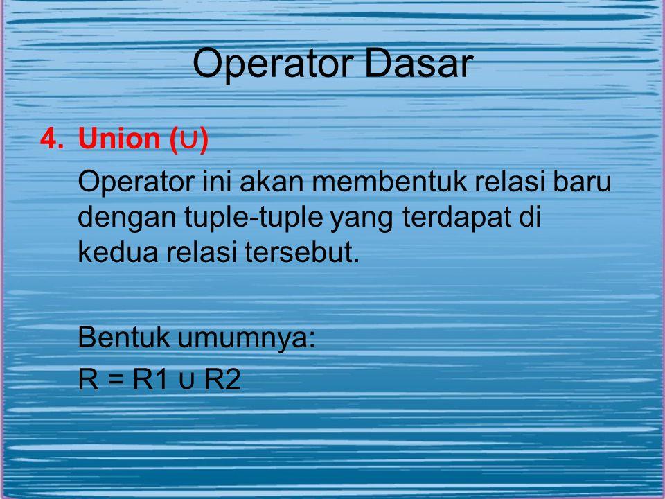 Operator Dasar 4.Union ( ∪ ) Operator ini akan membentuk relasi baru dengan tuple-tuple yang terdapat di kedua relasi tersebut. Bentuk umumnya: R = R1