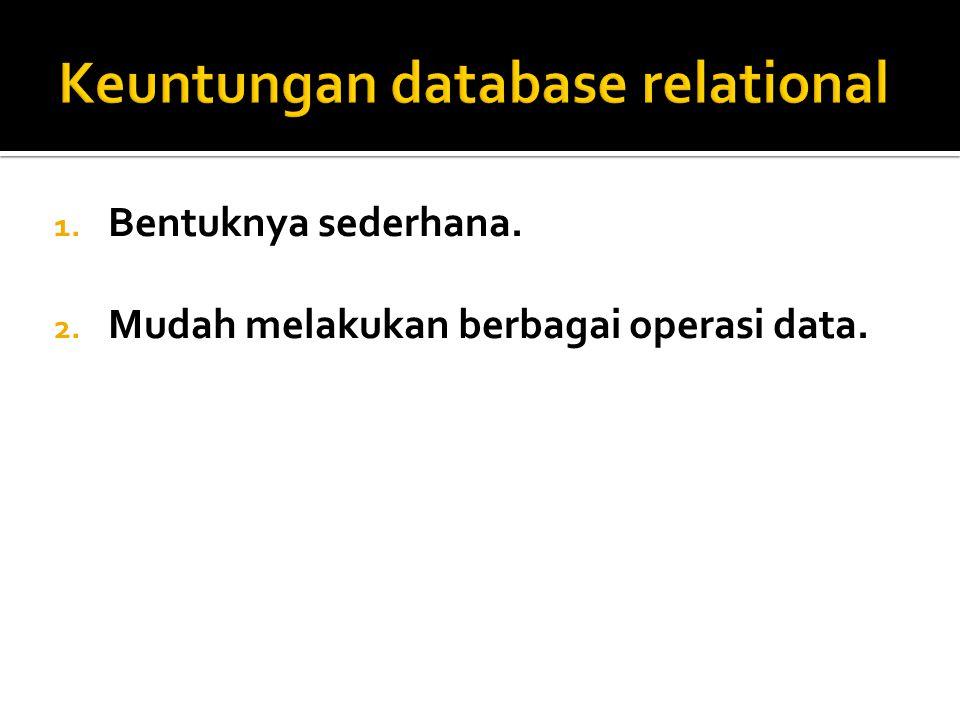 1.Relasi  Relasi  sebuah tabel yang terdiri dari beberapa kolom dan beberapa baris.