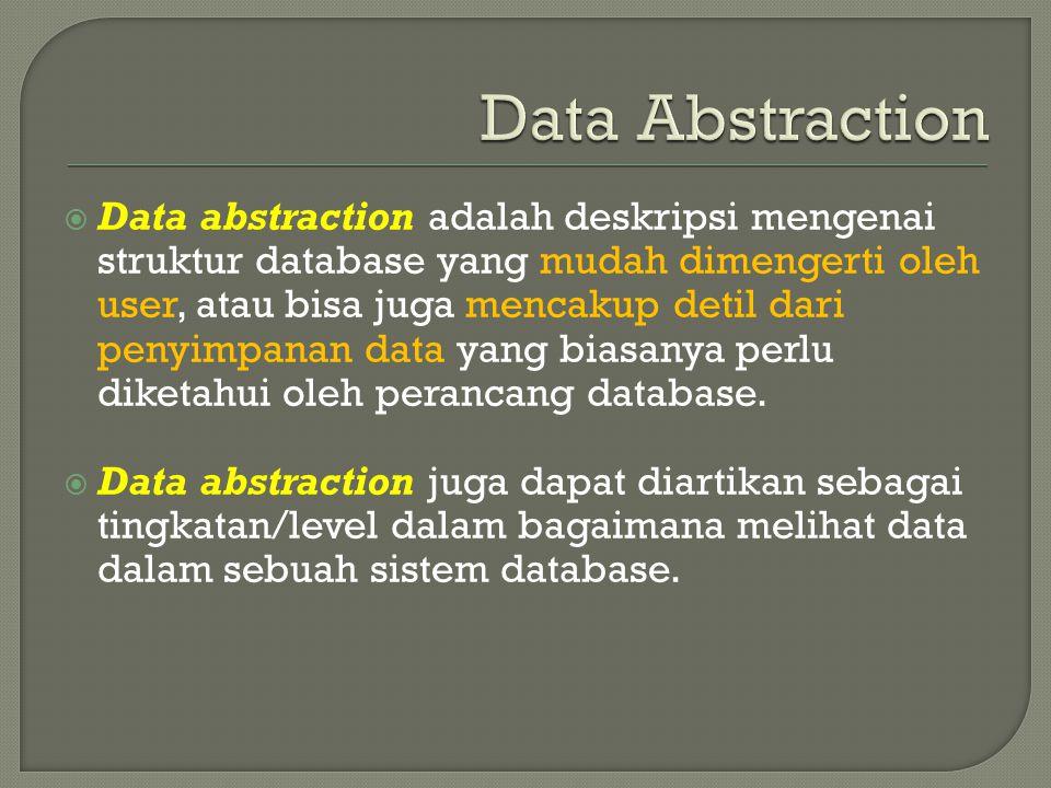 Data abstraction adalah deskripsi mengenai struktur database yang mudah dimengerti oleh user, atau bisa juga mencakup detil dari penyimpanan data yang biasanya perlu diketahui oleh perancang database.