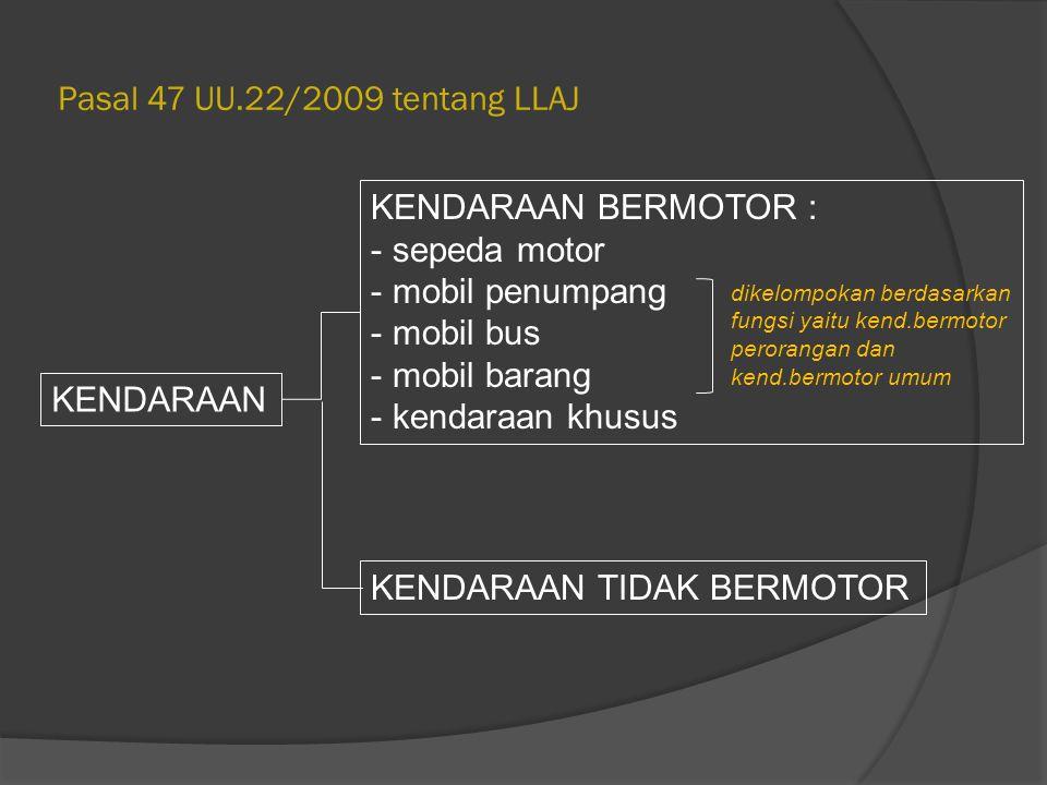 Pasal 47 UU.22/2009 tentang LLAJ KENDARAAN KENDARAAN BERMOTOR : - sepeda motor - mobil penumpang - mobil bus - mobil barang - kendaraan khusus KENDARA