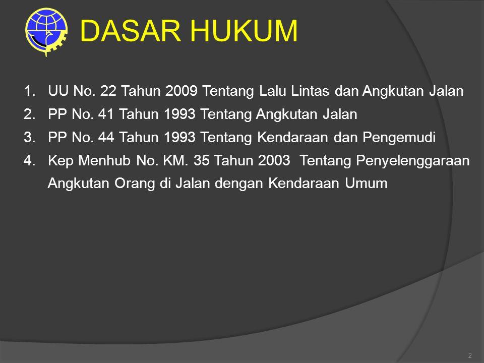 2 1.UU No. 22 Tahun 2009 Tentang Lalu Lintas dan Angkutan Jalan 2.PP No. 41 Tahun 1993 Tentang Angkutan Jalan 3.PP No. 44 Tahun 1993 Tentang Kendaraan