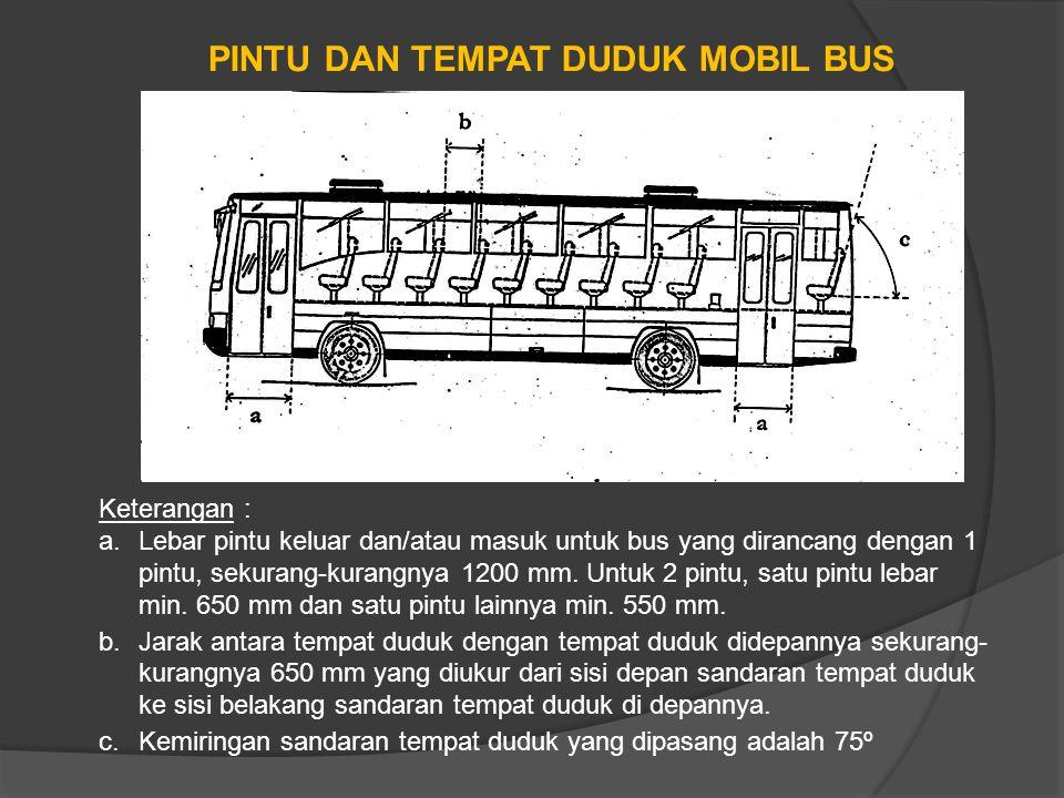 PINTU DAN TEMPAT DUDUK MOBIL BUS Keterangan : a.Lebar pintu keluar dan/atau masuk untuk bus yang dirancang dengan 1 pintu, sekurang-kurangnya 1200 mm.