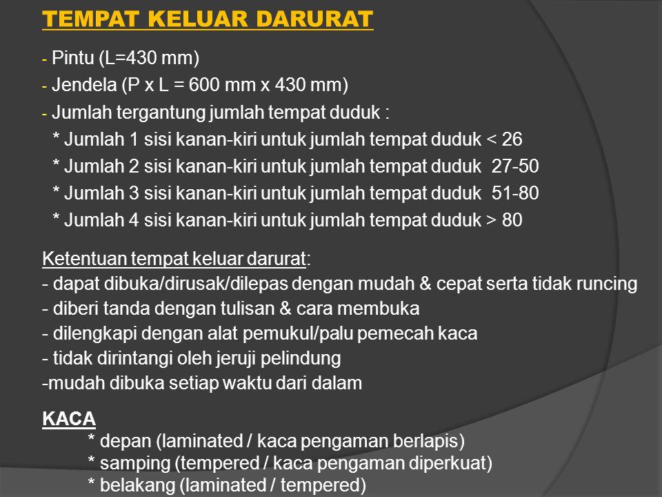 TEMPAT KELUAR DARURAT - Pintu (L=430 mm) - Jendela (P x L = 600 mm x 430 mm) - Jumlah tergantung jumlah tempat duduk : * Jumlah 1 sisi kanan-kiri untu