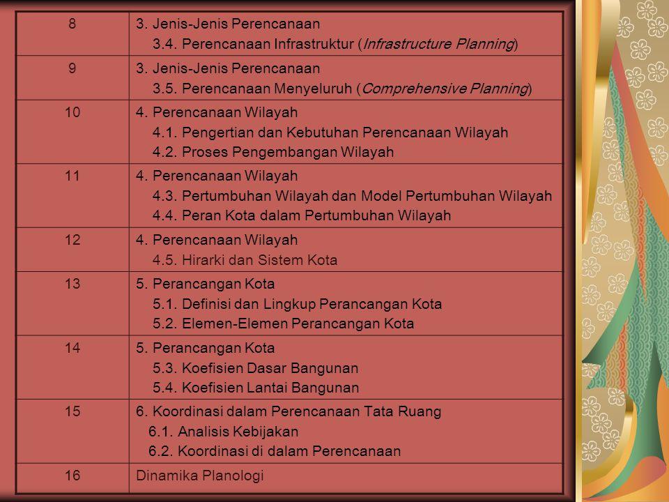 83. Jenis-Jenis Perencanaan 3.4. Perencanaan Infrastruktur (Infrastructure Planning) 93.
