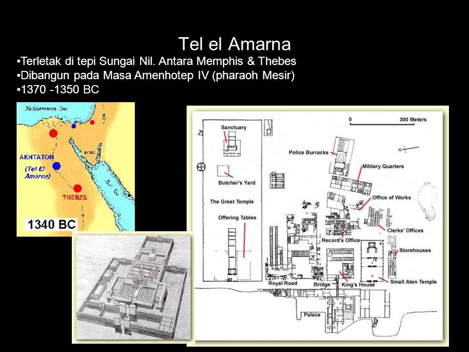 Tel el Amarna Terletak di tepi Sungai Nil. Antara Memphis & Thebes Dibangun pada Masa Amenhotep IV (pharaoh Mesir) 1370 -1350 BC