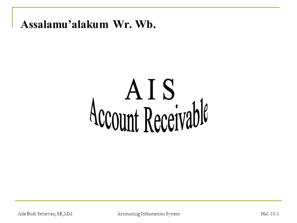 Ade Budi Setiawan, SE,MM Accounting Information System Hal. 10-1 Assalamu'alakum Wr. Wb.