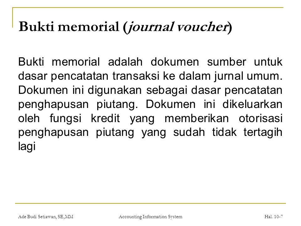 Ade Budi Setiawan, SE,MM Accounting Information System Hal.